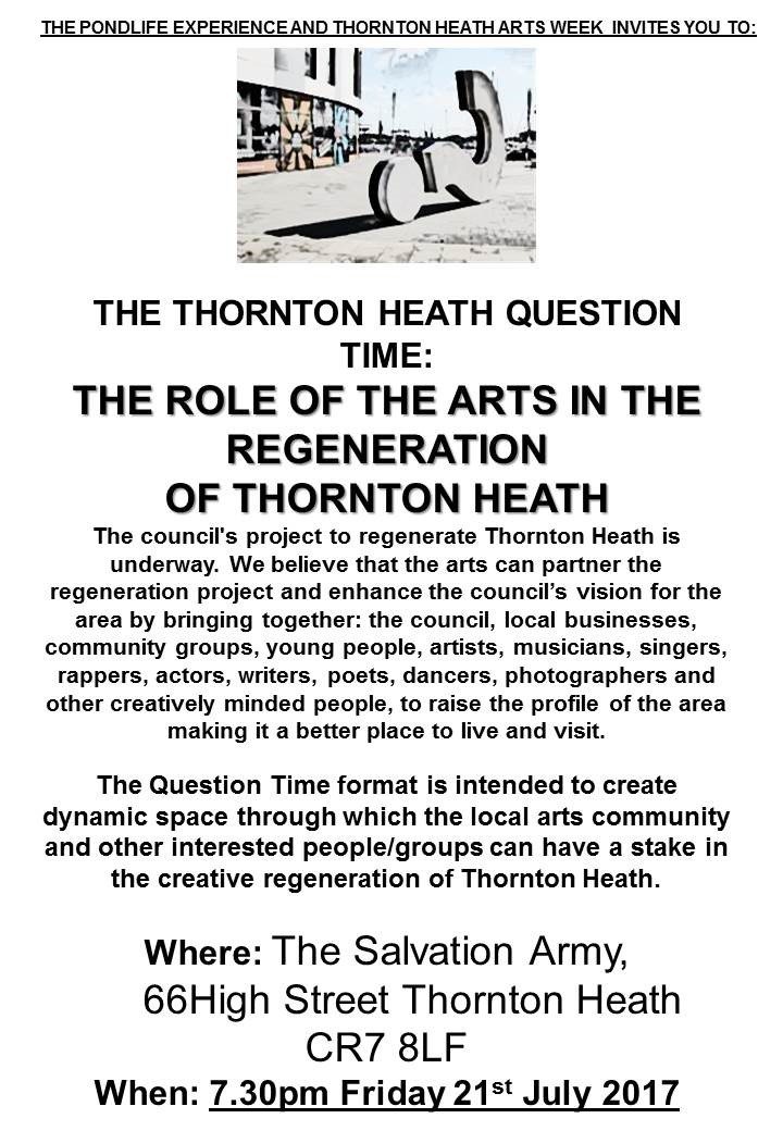 Question Time: Thornton Heath Regeneration and The Arts
